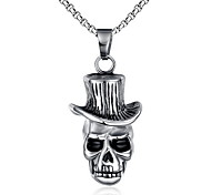 Men's Fashion Punk Style Skull Hat Steel Pendant for Necklace
