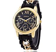 Hombre Reloj de Moda Cuarzo Reloj Casual Caucho Banda Negro / Blanco / Azul / Rojo / Naranja / Marrón / Verde / Morado / Amarillo Marca-