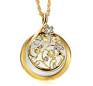Sweet look Flower Reading GlassCrystals Neckalce 2x Magnifying Glass Pendant 18KGP Platinum Plated