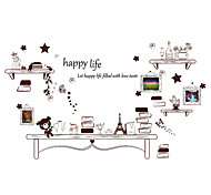 Wall Stickers Wall Decals, Words Happy Life PVC Wall Sticker