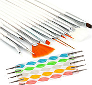 15pcs nail art peinture de conception stylo dessin Brush Set avec 5pcs 2-way parsemant Marbleizing outil plume