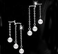 Women Pearl Tassel Drop Earrings for Wedding Party