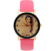 Women's Leather Strap Leisure Student Gift Beautiful Printing Analog-Digital Watches