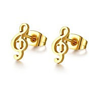 Women's Music Style Gold Titanium Stud Earrings