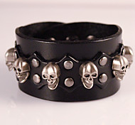 Skull Genuine Leather Jewelry Punk Handmade Classic Vintage High Quality Bracelets