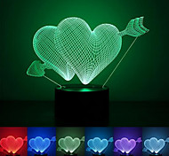 Heart Creative Colorful USB 3D Led Night Light