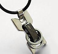 collar de los hombres de acero de titanio esqueleto, colgante de acero inoxidable - biblia círculo monopatín cordón de cuero collar