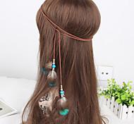 богема перо деревянные бусины женские ткать Headbands 1 шт
