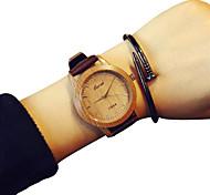 quarzo di modo semplice casuale orologi fresco cinghia di cuoio in lega rotonda delle donne quadrante woodiness orologi orologi unici