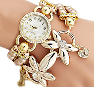 Women's Fashion Pearl Style Alloy Band Quartz Bracelet Watch