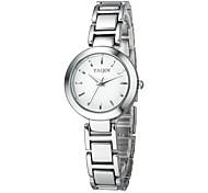 Damen Armband-Uhr Japanischer Quartz Armbanduhren für den Alltag Legierung Band Bettelarmband Silber Marke