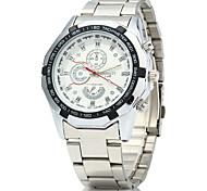 Men's Wrist watch Quartz Casual Watch Stainless Steel Band Silver Brand