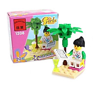 Genuine Enlightenment Fight Cartridge Building Blocks Educational Toys Enlightenment 1208 Reading Girl Pink Dream