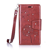 For Lenovo Vibe C / A2020 Luxury Retro Dandelion Diamonds embossed wallet Phone Cover With Stand Card Holder