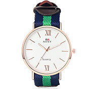 Men's Fabric Leather Band Clear Case Analog Quartz Dress Watch (NO Water Ressistant)