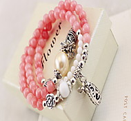 Pink Gem Crystal Layered Strand Bracelet (52cm)
