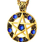 самый популярный 18k золото покрыло Кулон синий стразы круглый звезды на ожерелье женщины мужчинам средние века ювелирных изделий типа