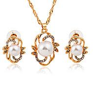Golden Plated Pearl Drop Shape Gem Pendant Necklace & Earrings Jewelry Set