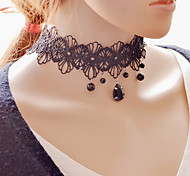 Vintage Black Gem Lace Necklace