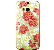 For HTC Case Embossed Case Back Cover Case Flower Hard PC HTC