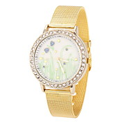 Lady's Cool Steel Gold Leather Band White Case Analog Quartz Fashion Watch(-Not Water Resistant)