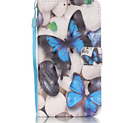 PU Leather Material 3D Painting Blue Butterfly Pattern Phone Case for Samsung Galaxy J5/J510/J3/J310/G360/G530