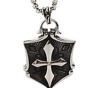 Fashion Cross Pendant Necklace Titanium Shield
