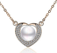 Z&X® Diamond Peach Heart Shape Full Drill Pearl Necklace