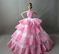 Party/Evening Dresses For Barbie Doll White / Pink Dresses For Girl's Doll Toy