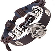Leather Wrap Bracelet with Skull Pendant