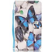 PU Leather Material 3D Painting Blue Butterfly Pattern Phone Case for Huawei P9 Lite