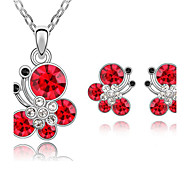 Women's Austrian Fashion Butterfly Earrings Necklace Set