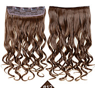 """Clip In Synthetic Hair Extensions 24"""" 120g Silky Fiber Hair  #12 Brown Curly Hairpiece Wavy No Shedding"""