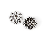 Beadia 40Pcs Antique Silver Alloy Beads Cap 8x3mm Flower Shape Spacer Beads