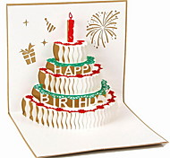 Hollow 3D Stereoscopic Birthday Gift Greeting Card Postcard Candles On the Cake