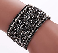 Brazil Gravel Glued Leather National Wind Diamond Bracelet, Alloy Magnetic Clasp