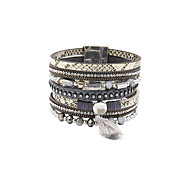Fashion Women Multi Rows Stone Set Leather Bracelet