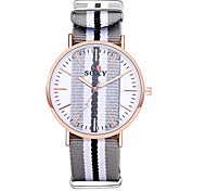 Lady's Fabric Leather Band Clear Case Analog Quartz Dress Watch (NO Water Ressistant)