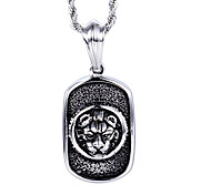 Vintage Style Jewelry Men's Stainless Steel Lion Head Pendant Necklace
