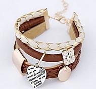 Женский Wrap Браслеты Кожаные браслеты Мода Богемия Стиль Кожа Круглый Любовь Бижутерия Назначение Повседневные Новогодние подарки