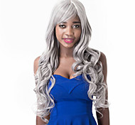Charming Long Gray Mixed Synthetic Natural Body Central Parting Wave Women's Daily Wearing Wig