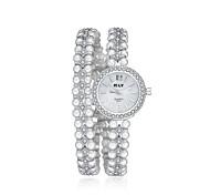 jewelora Damen Kleideruhr Modeuhr Armband-Uhr Quartz Armbanduhren für den Alltag Schockresistent Legierung Band Vintage Perlen Elegante