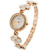 Women's Watch Quartz Analog Fashion White Flower Band Imitate Diamond Watch Dress Watch Wrist Watch