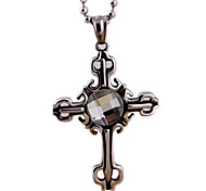 крест кристалл кулон ожерелье