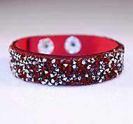 Fashion Classic Vintage Rhinestone Leather Bracelets for women Christmas Gifts