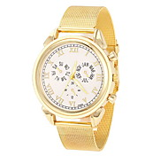 Women's Cool Steel Gold Leather Band White Case Analog Quartz Fashion Watch(-Not Water Resistant)