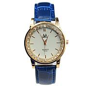 Women's Blue Leather Strap Rhinestone Digital Pointer Minimalist Leisure Watches