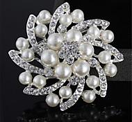 Fashion Silver Alloy Flower Shape Pearl Brooches for Wedding