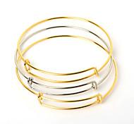 Браслеты Браслет разомкнутое кольцо Нержавеющая сталь Регулируется Повседневные Бижутерия Подарок Золотой / Серебряный,10 шт.