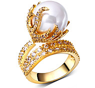 Band Rings AAA Cubic Zirconia Pearl Pearl Imitation Pearl Zircon Cubic Zirconia Copper Platinum Plated Gold Plated FlowerFashion